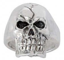 Sterling Silver Full Skull Biker Ring
