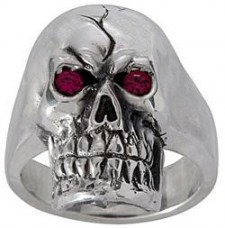 Sterling Silver Red Eye Skull Biker Ring