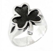Sterling Silver Clover Biker Ring