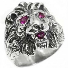 Sterling Silver Lion Ring With Red Eyes Biker Ring