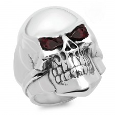 Rock Star Skull Biker Ring With Garnets