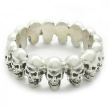 Sterling Small Skull Heads Band Biker Ring