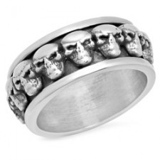Sterling Silver Skull Spinner Biker Ring