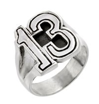 Sterling Silver Lucky 13 Biker Ring