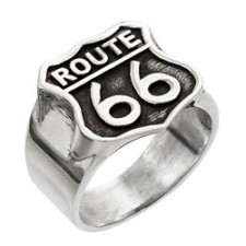 Sterling Silver Route 66 Biker Ring