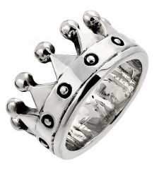 Sterling Silver Crown Biker Ring