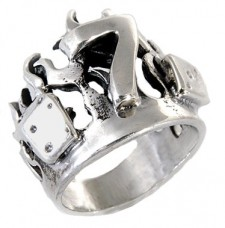 Sterling Silver Lucky 7 Biker Ring