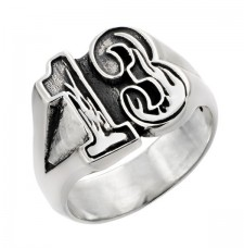 Sterling Silver Lucky 13 Biker  Ring With Flames