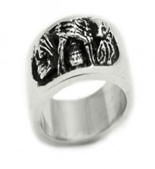 Sterling Silver Three Wise Skulls Biker Ring