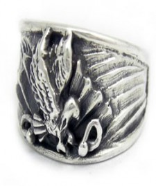 Sterling Silver American Eagle Glory Biker Ring