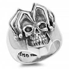 Sterling Silver Joker Biker Ring