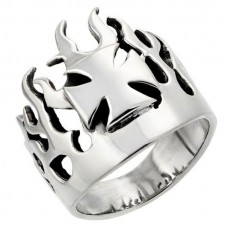 Sterling Silver Maltese Cross Flame Biker Ring