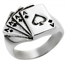 Sterling Silver Four Aces Biker Ring