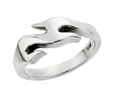 Sterling Silver Thin Flame Biker Ring
