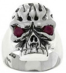 Sterling Silver Skull Flames Red Eye Biker Ring