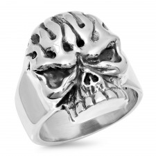 Sterling Silver Skull Flames Biker Ring