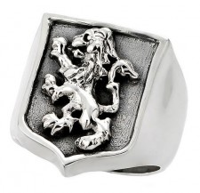 Sterling Silver Distinguished Lion Crest Biker Ring & Jewelry