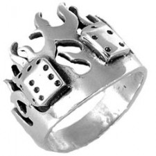 Sterling Silver Lucky Flame Biker Ring