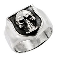Sterling Silver Bold Skull Shield BIker Ring