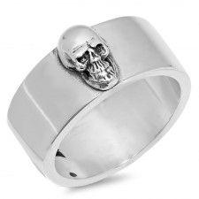 Sterling Silver Classic Band With Skull Biker Ring