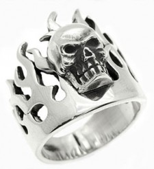 Sterling Silver Skull on Flame Biker Ring