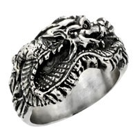 Sterling Silver Dragon Biker Ring
