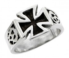 Sterling Silver Maltese Cross with Flames Biker Ring