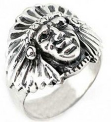Sterling Silver Indian Freedom Biker Ring