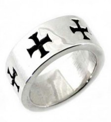 Sterling Silver Knights Templar Biker Ring