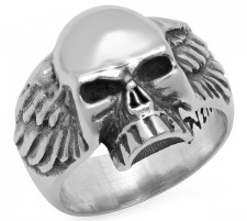 Sterling Silver Skull And Wings Ring