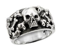 Sterling Silver Skull And Scatterred Bones Biker Ring