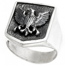 Sterling Silver Single Eagle Biker  Ring