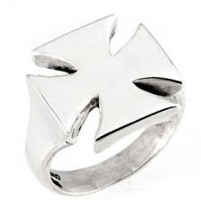 Sterling Silver Maltese Cross Biker Ring