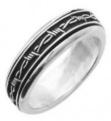 Sterling Silver Barbwire Spinner Biker  Ring