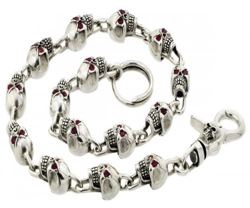 Sterling Silver Skull Wallet Chain With Red Eyes