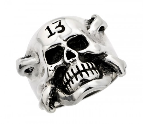 Lucky 13 Crossbone Skull Ring
