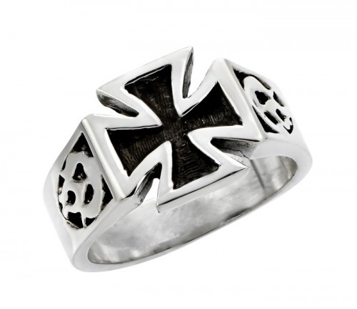 Maltese Cross with Flames Ring