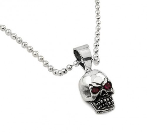 Sterling Silver Skull And Red Eyes