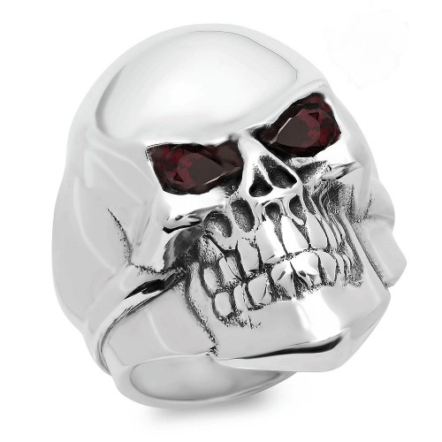 Rock Star Skull Ring With Garnets