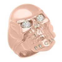 Rock 14K Gold Skull Ring