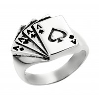 Four Aces White Gold Ring