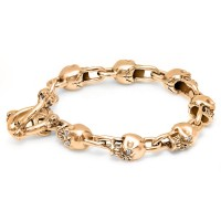 14K Rose Gold Skull Bracelet with Diamond Eyes