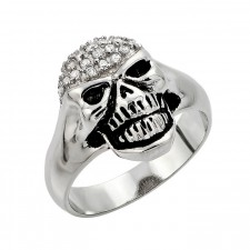 Sterling Silver Small Women's Pave Skull Ring