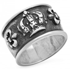 Sterling Silver Crown N Fleur De Lis Band Ring