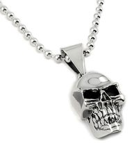 Sterling Silver Medium Skull and 5mm Beaded Chain