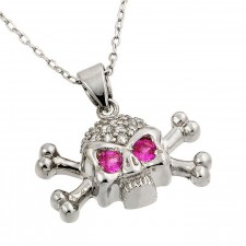 Sterling Silver Crossbone Skull Pendant Accented With Pink Eyes