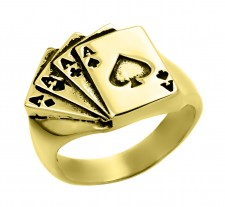 14K Gold 4 Aces Ring