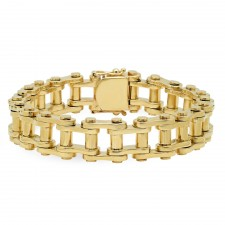large 14k gold motorcycle link bracelet