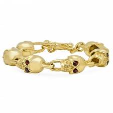 BadAss 14K Skull Bracelet with Genuine Garnets