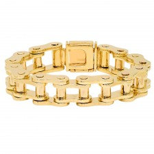 14K Yellow Gold Serious Motorcycle Link Bracelet